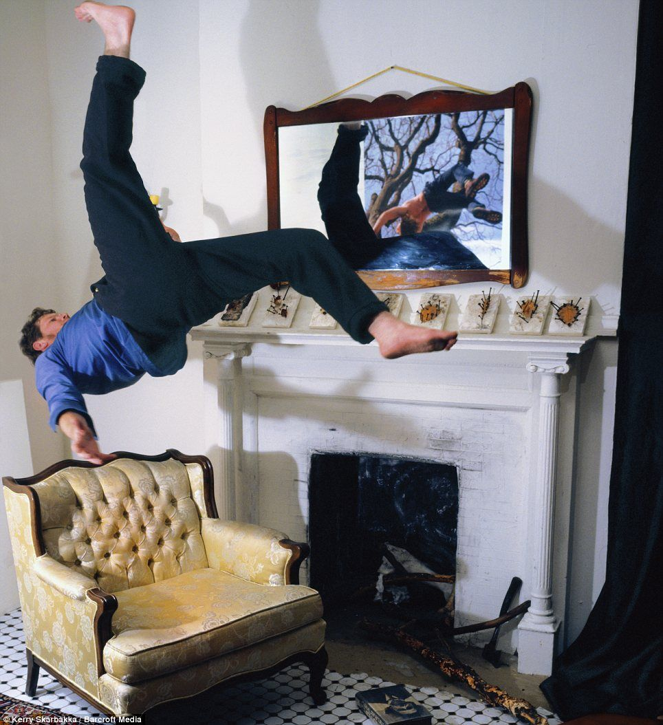 Gravity-defying: The artist says his work is supposed to evoke the total lack of control which most people have over their own lives