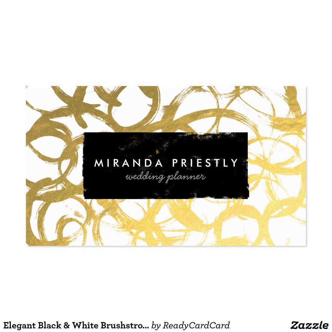 Elegant Black & White Brushstrokes Wedding Planner Business Card ...