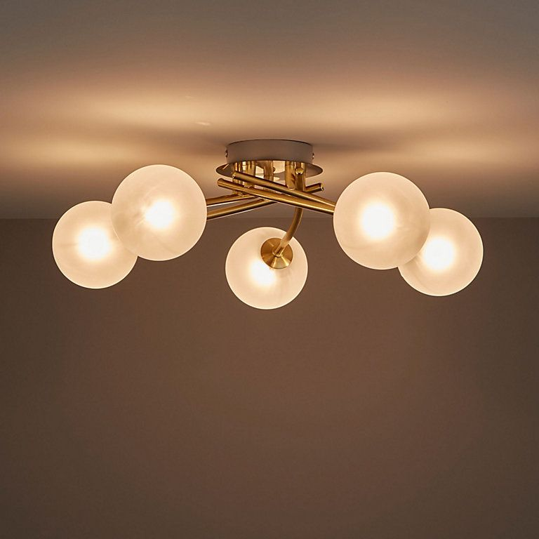 Pila Brushed Gold Effect 5 Lamp Ceiling