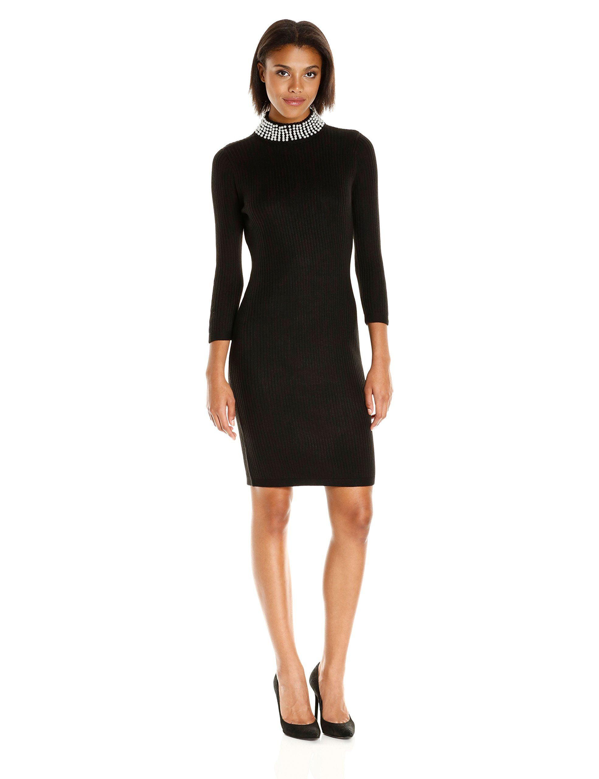 Calvin Klein Women's 3/4 Sleeve Sweater Dress with Pearl Beading ...