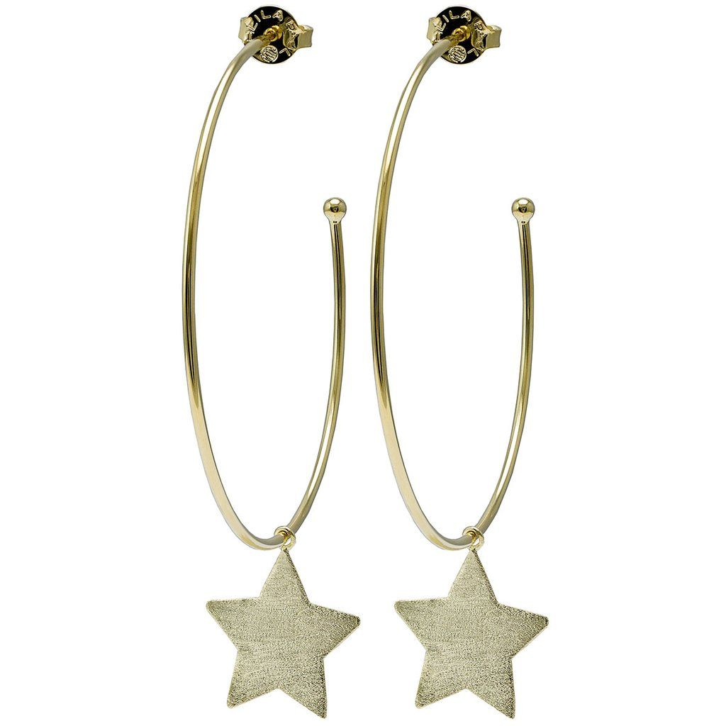 dd58beea827b7c You will shine like the brightest star in these thin wire hoops embellished  by one delicate