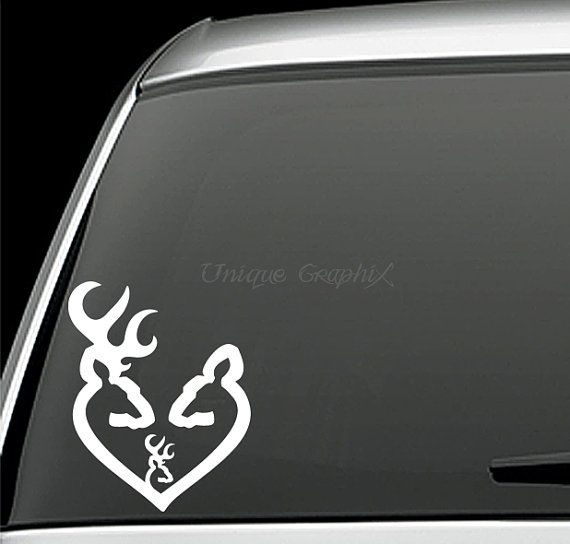Deer head heart buck doe and baby buck vinyl decal window sticker on etsy 3 00
