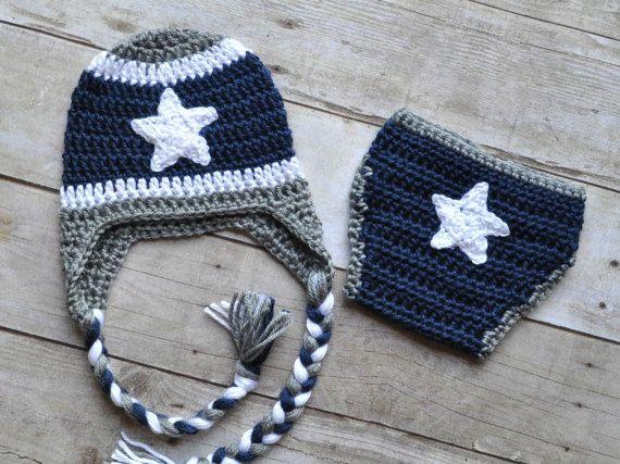 Crochet Dallas Cowboys Hat and Diaper Cover Set   Cowboy ...