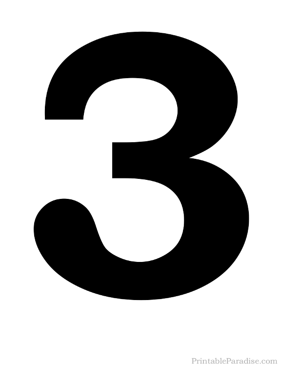 Printable Solid Black Number 3 Silhouette | Number ...