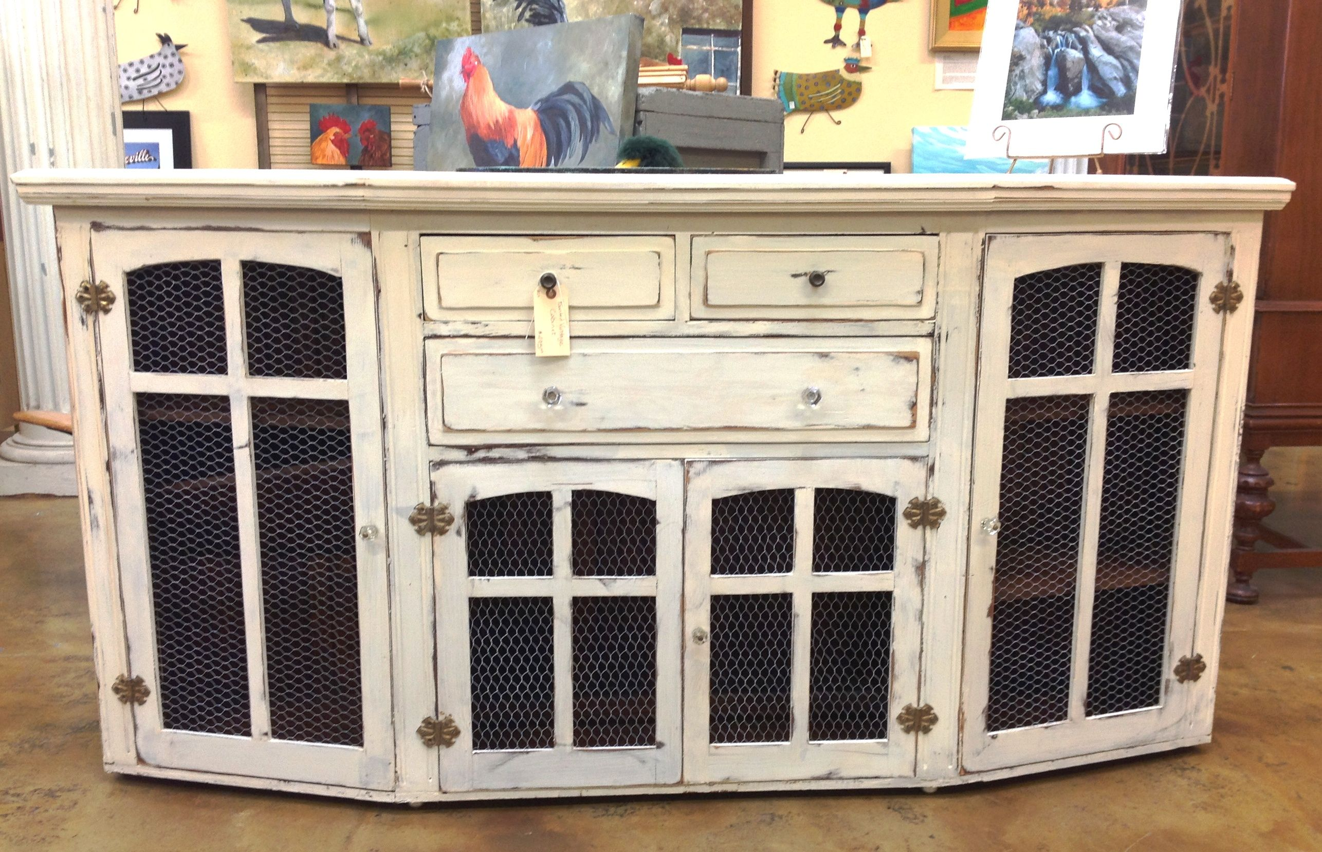 Vintage cabinet with chicken wire doors   Vintage cabinets ...