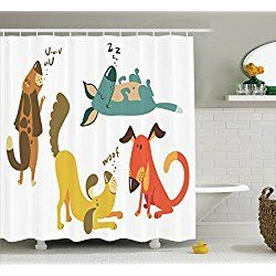 Dog Lover Cute Dogs Sitting Sleeping Smiling Standing Shower