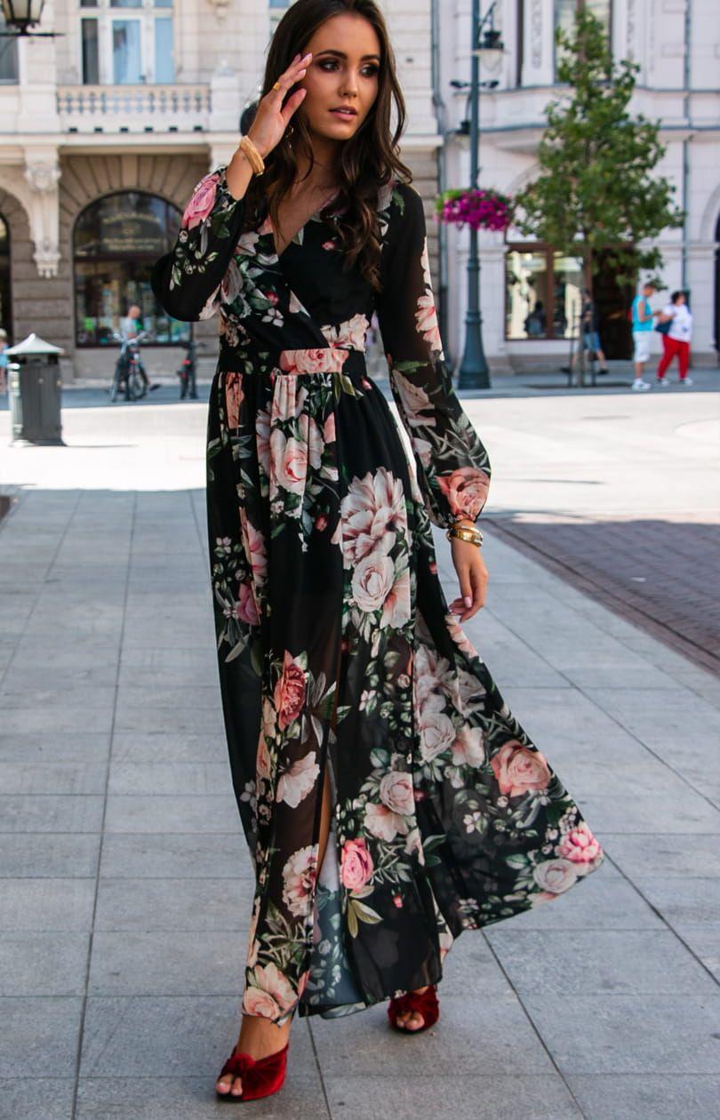 Dluga Sukienka W Kwiaty Roco 0219 D37 Dresses Print Dress Maxi Dress