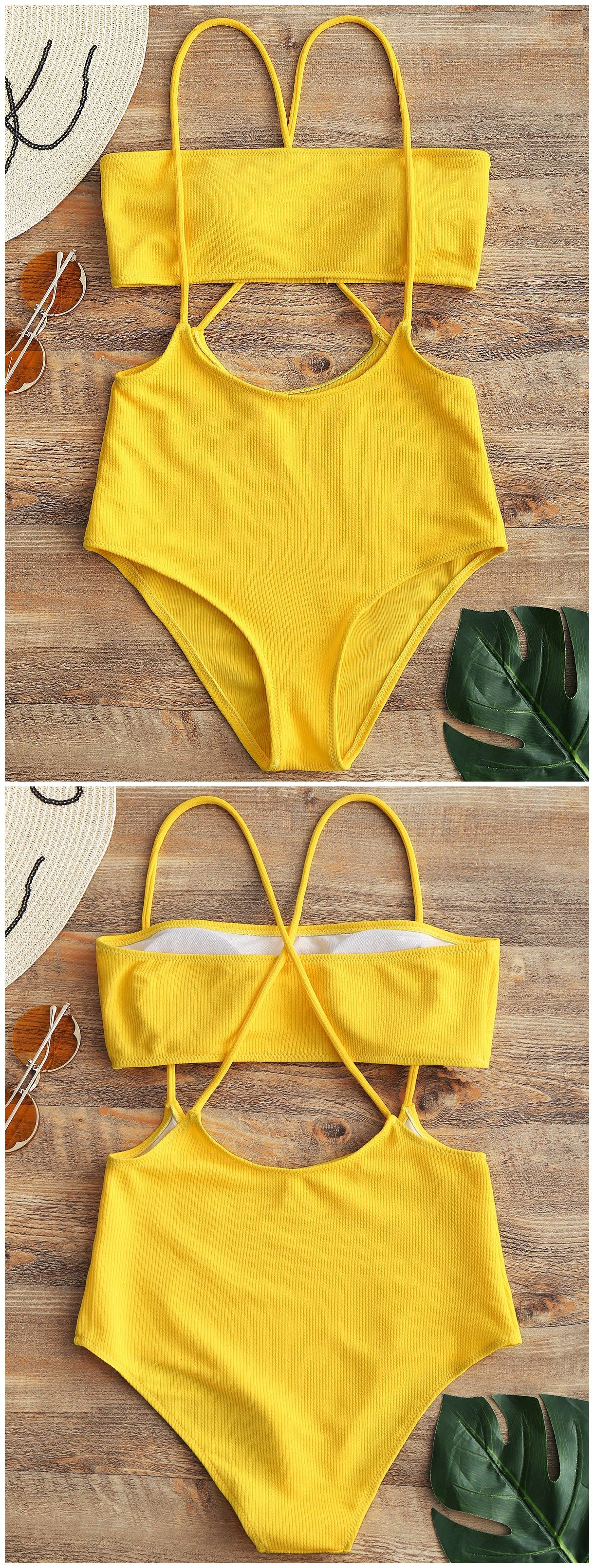 ca0a25a61f202 Bandeau Top And High Waisted Slip Bikini Bottoms. #Zaful #Swimwear #Bikinis  zaful,zaful outfits,zaful dresses,spring outfits,summer dresses,Valentine's  Day ...