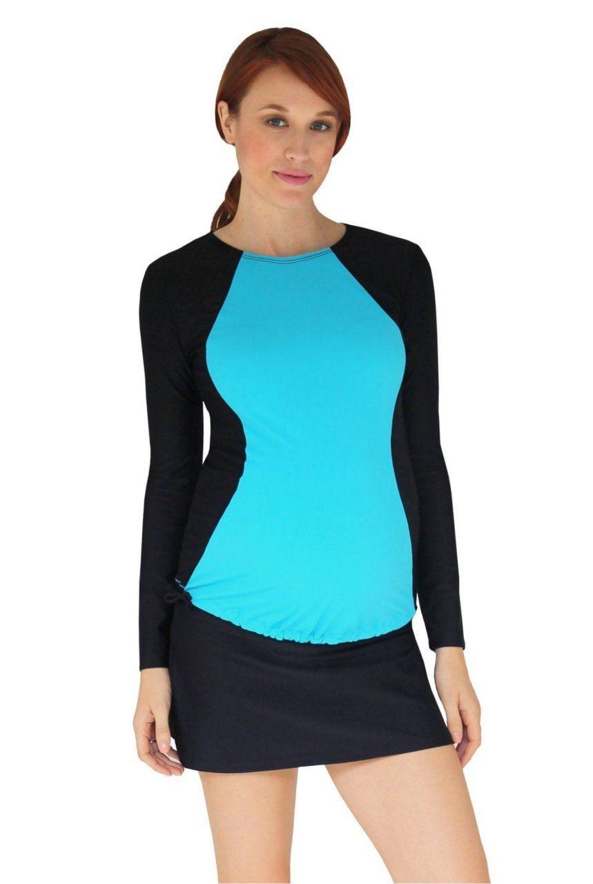e662af4d7f060 Mermaid Maternity - Long Sleeve Maternity Illusion Rash Guard Swim Shirt -  Tropical, $53.00 (