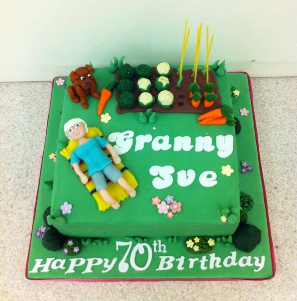 Gardening themed birthday cake