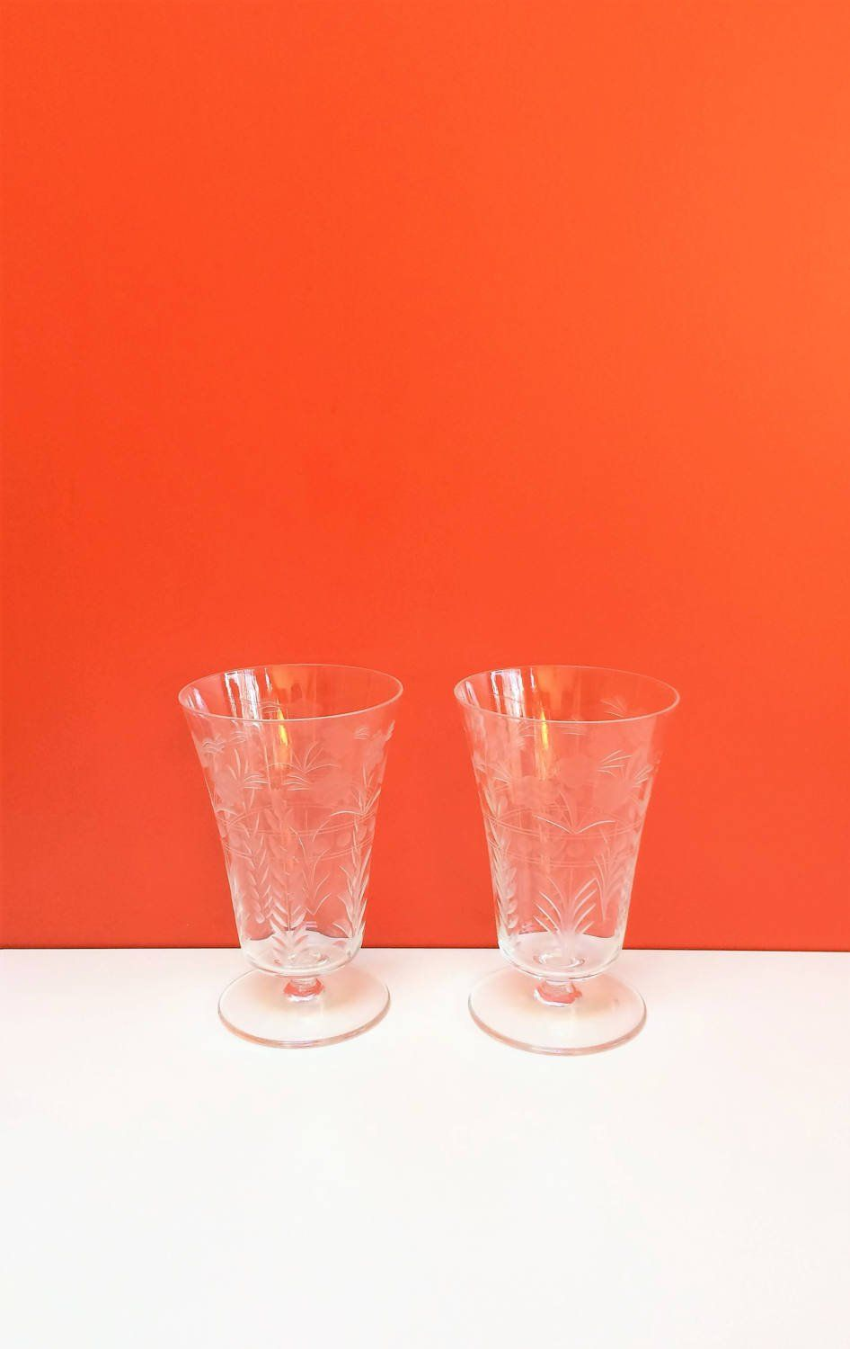 Vintage Etched Flower And Leaf Wine Goblets Set Of Two By Object9 On Etsy Etched Wine Glasses Wine Goblets Wine