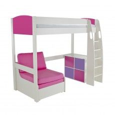 Brilliant Stompa Duo Uno S Highsleeper With Chair Bed Cube Unit Pink Theyellowbook Wood Chair Design Ideas Theyellowbookinfo