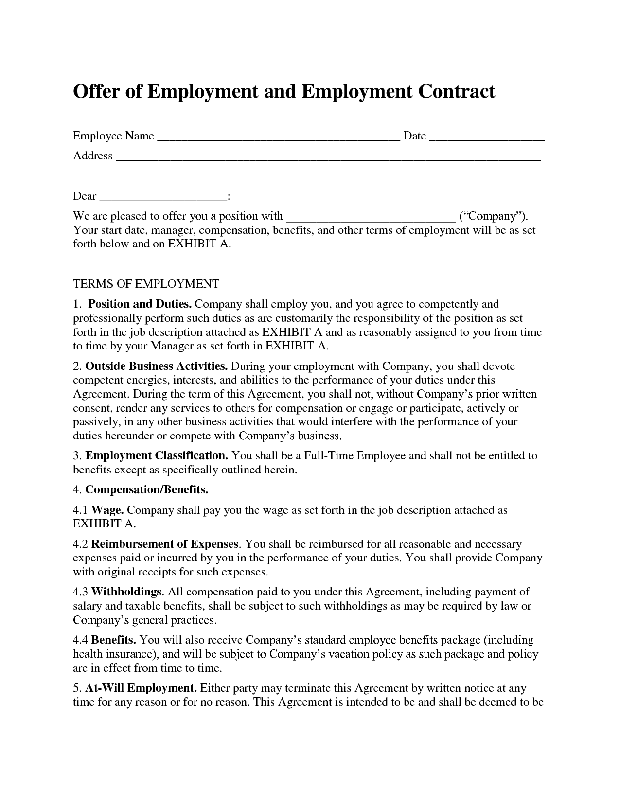 Printable Sample Employment Contract Sample Form  Work
