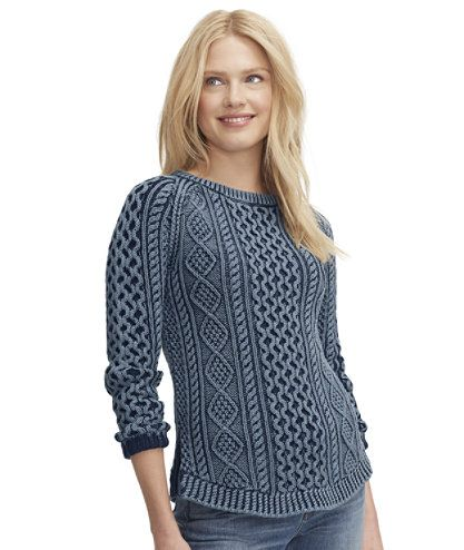 Women's Signature Cotton Fisherman Tunic Sweater, Washed | Free ...