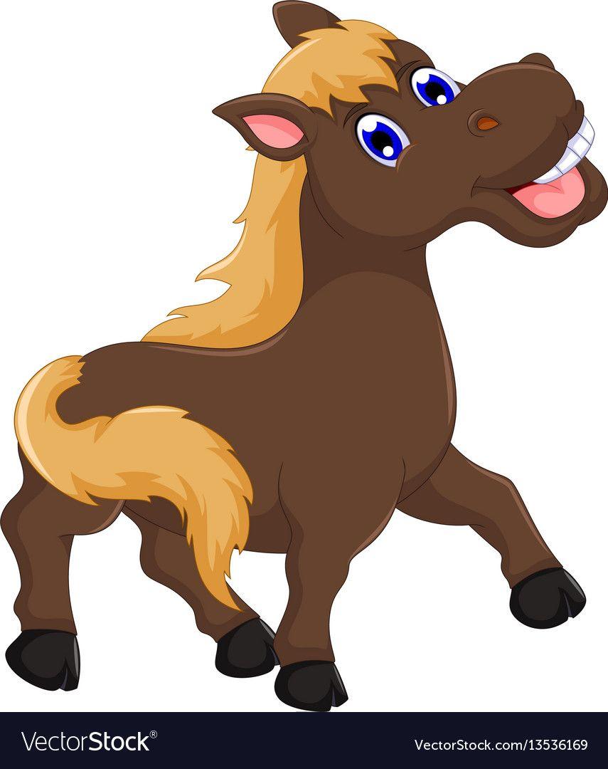 Cute Horse Cartoon Posing Vector Image On Vectorstock Horse Cartoon Cartoon Cute Animal Drawings