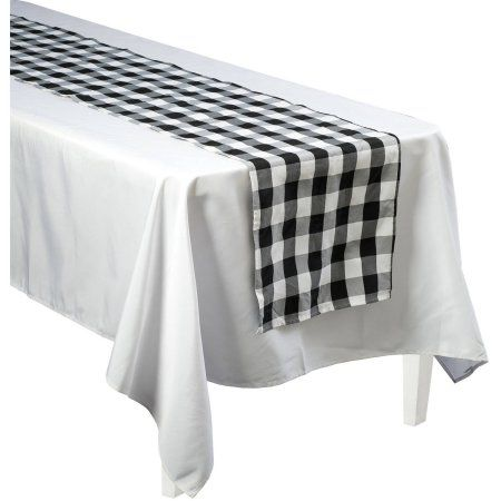 Generic Black And White Gingham 90 Table Cover Walmart Com White Table Cover White Table Decorations Gingham Decorations