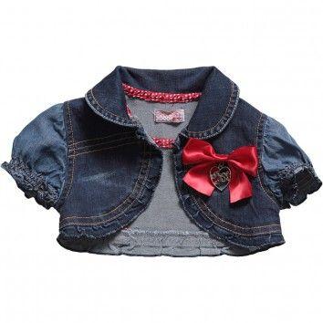 Fun & Fun  Baby Girls Denim Short Sleeve Cropped Jacket with Bow Brooch