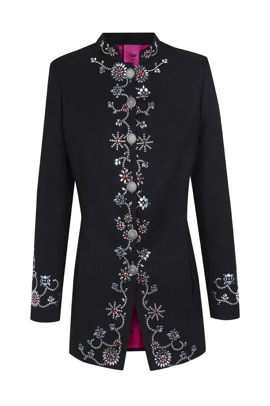 Latest La Condesa Dark Blue Vizcondesa Beatle Jacket For Women Online Sale