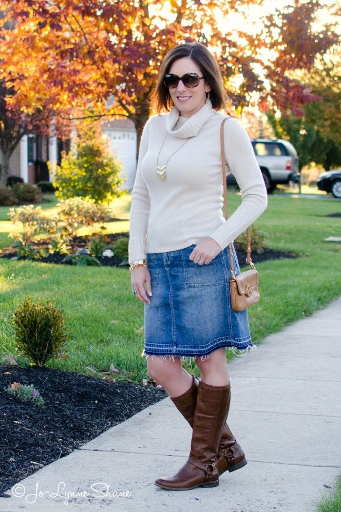 Fall Outfit Inspiration: Denim Skirt   Riding Boots | Riding boots ...