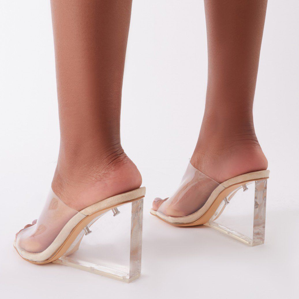 Maliboo Clear Perspex Mule with Wedge Heel ...Shoes currently worn by  Beyonce
