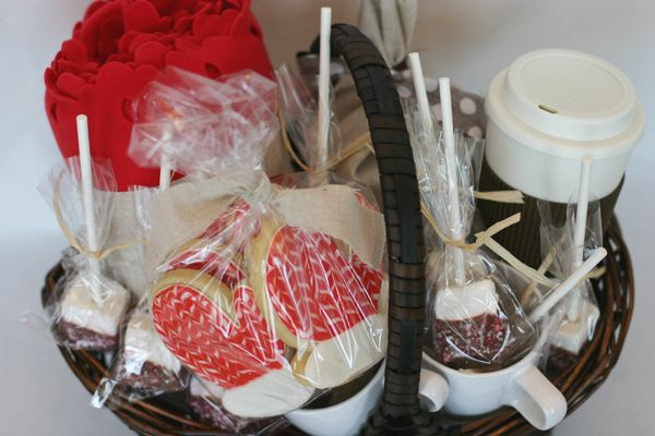 Cute winter gift ideahot chocolate, marshmallow stirrers, mitten
