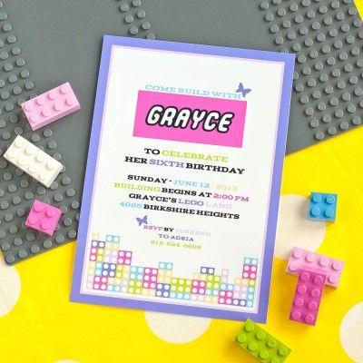 Modern Building Brick Girls Birthday Party Printable Invitation