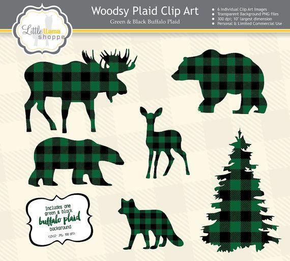 af7ca3cf Buffalo Plaid Clipart, Green & Black Plaid Animal Silhouette Clipart ...