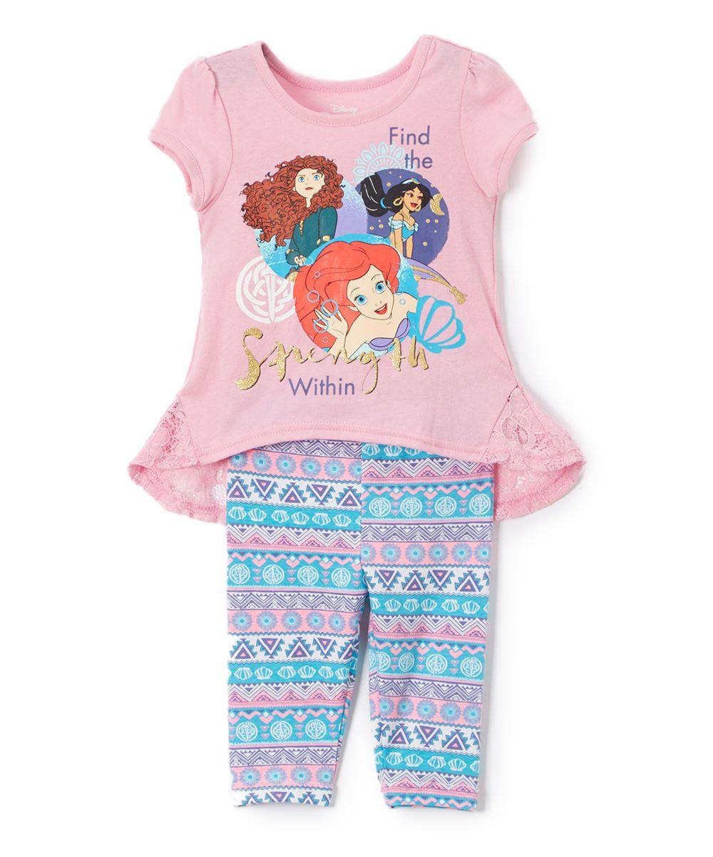 7c0dfe645 Pink Disney Princess 'Strength' Tunic & Leggings- Toddler & Girls ...