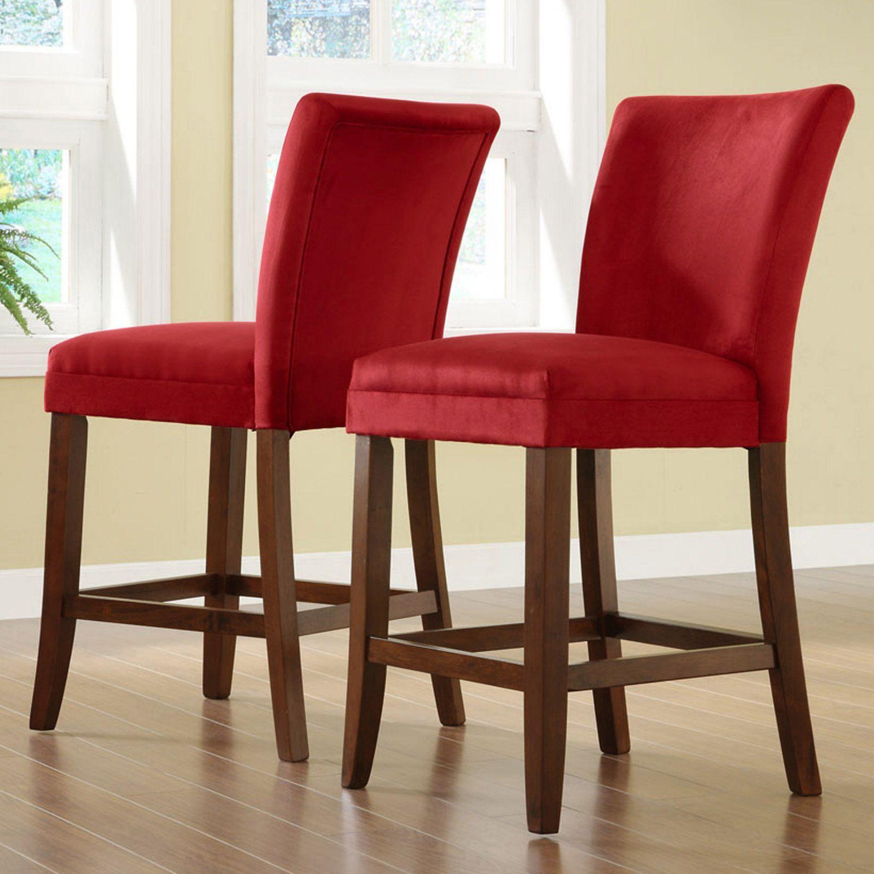 Strange Weston Home Achillea Pub Chair Red Fabric Set Of 2 721Rd Uwap Interior Chair Design Uwaporg