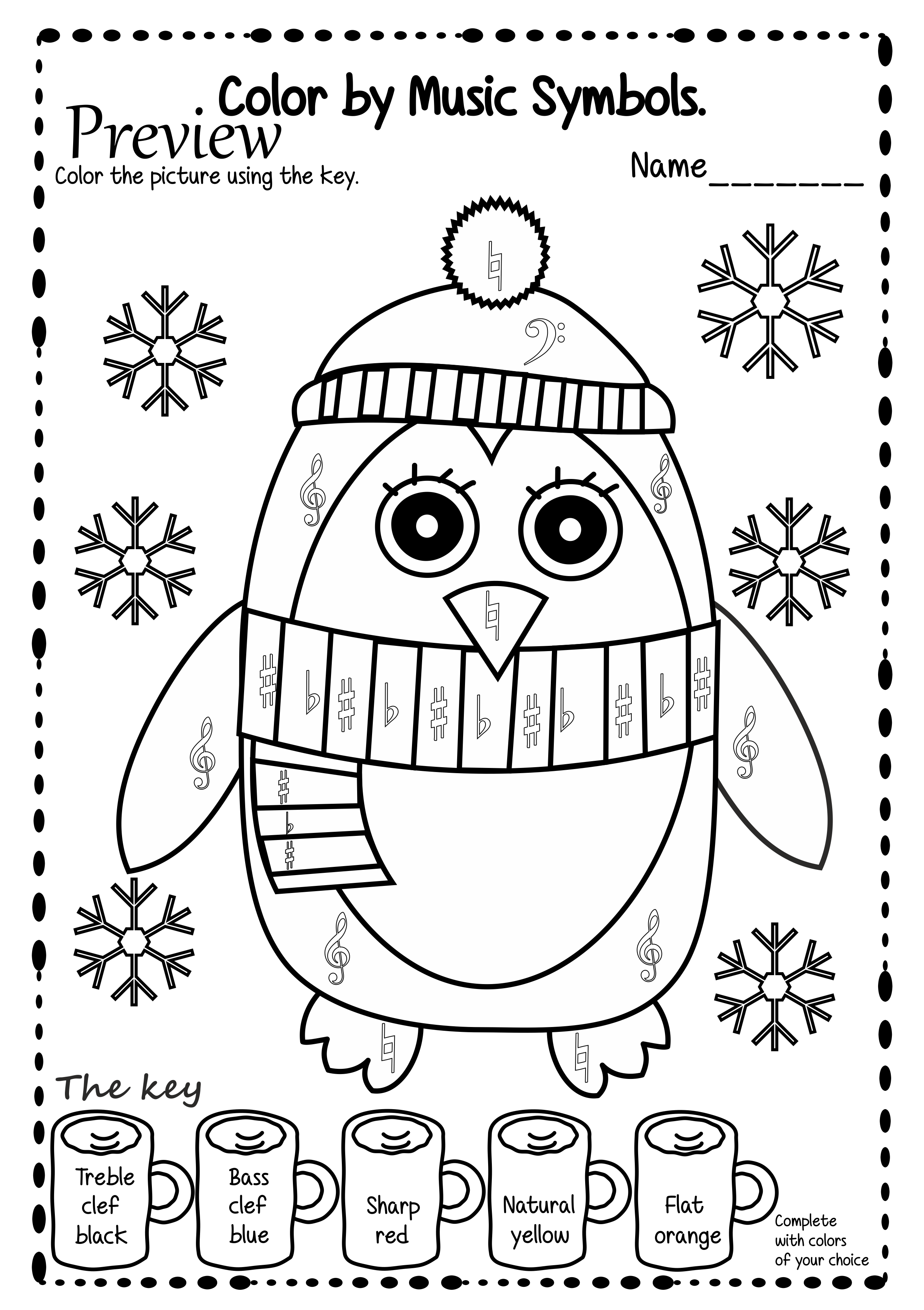 Winter Themed Color Sheets To Help Students Identify Or