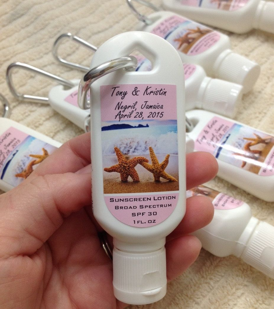 Wedding Sunscreen Favor With Clip Beach Theme LabelCustomize Your ColorsText