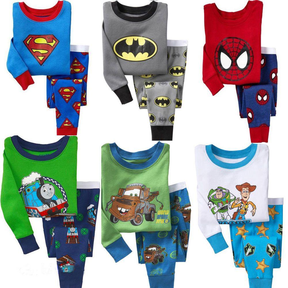 Baby Kid Toddler Boy Superhero Top Pants Pajamas Sleepwear Nightwear Clothes Set