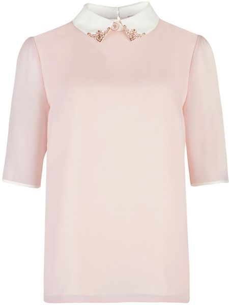 c64e653ff TED BAKER LONDON Embellished Collar Shirt - Lyst