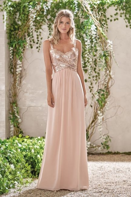 Elegant Brautjungfernkleider Apricot Lang Chiffon Kleider ...