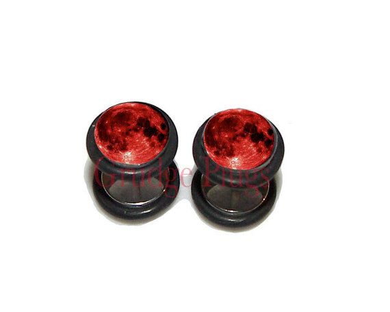 Hey, I found this really awesome Etsy listing at https://www.etsy.com/listing/458355336/blood-moon-2-fake-plugs-post-earrings-1