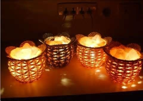 Salt rocks crafted lamps
