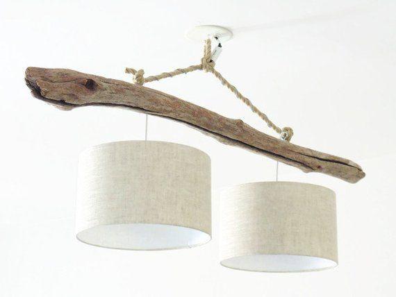 driftwood chandelier ceiling light shade linen 30 cm. Black Bedroom Furniture Sets. Home Design Ideas