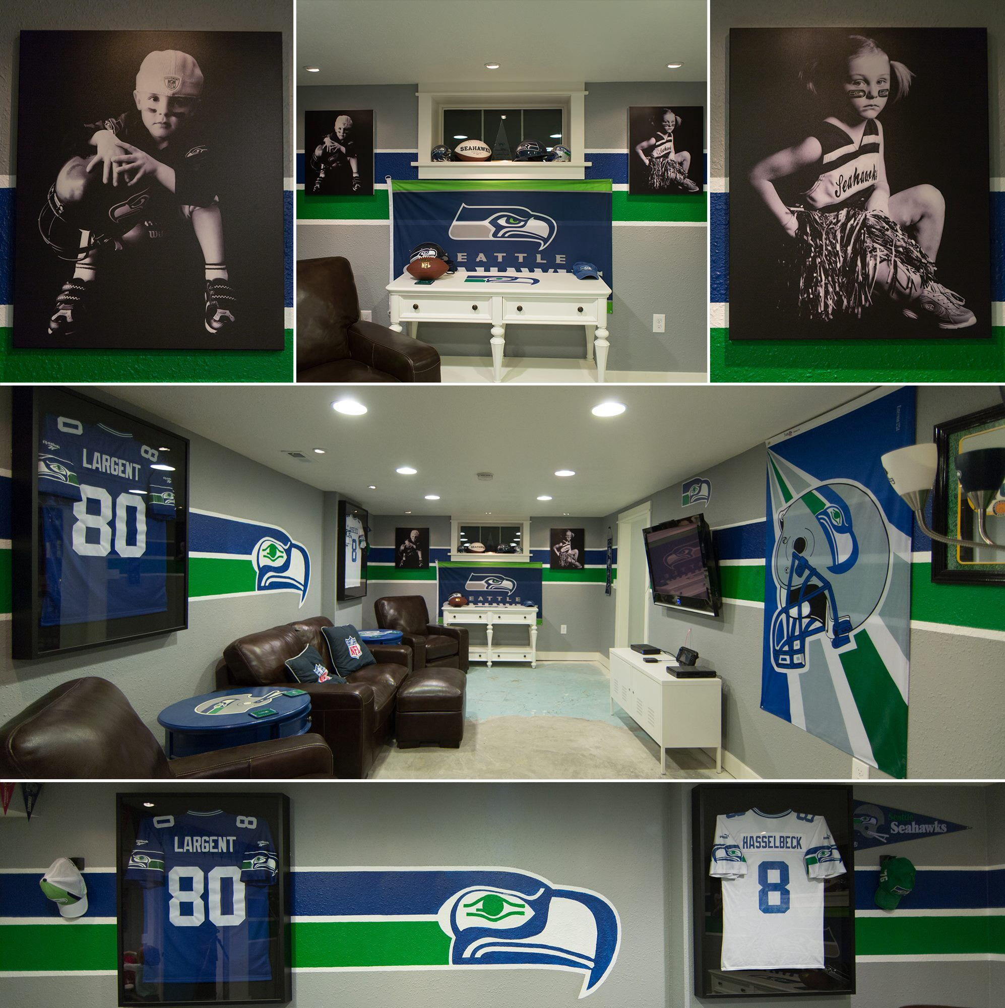 Our Awesome Seahawks Basement. Won Us 2014 Season Tickets