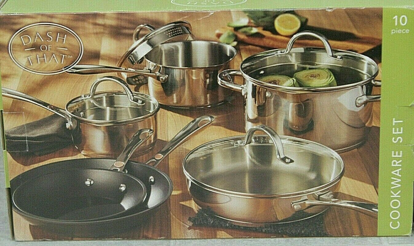 Details About Dash Of That 10 Piece Stainless Steel Cookware Set
