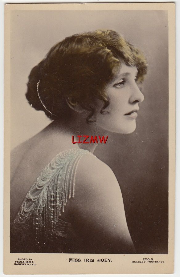 Actress Miss Iris Hoey Profile Over Bare Shoulder Jeweled Dress Photo Card