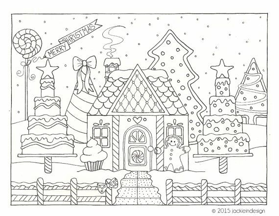 gingerbread house winter scene coloring page pdf instant download