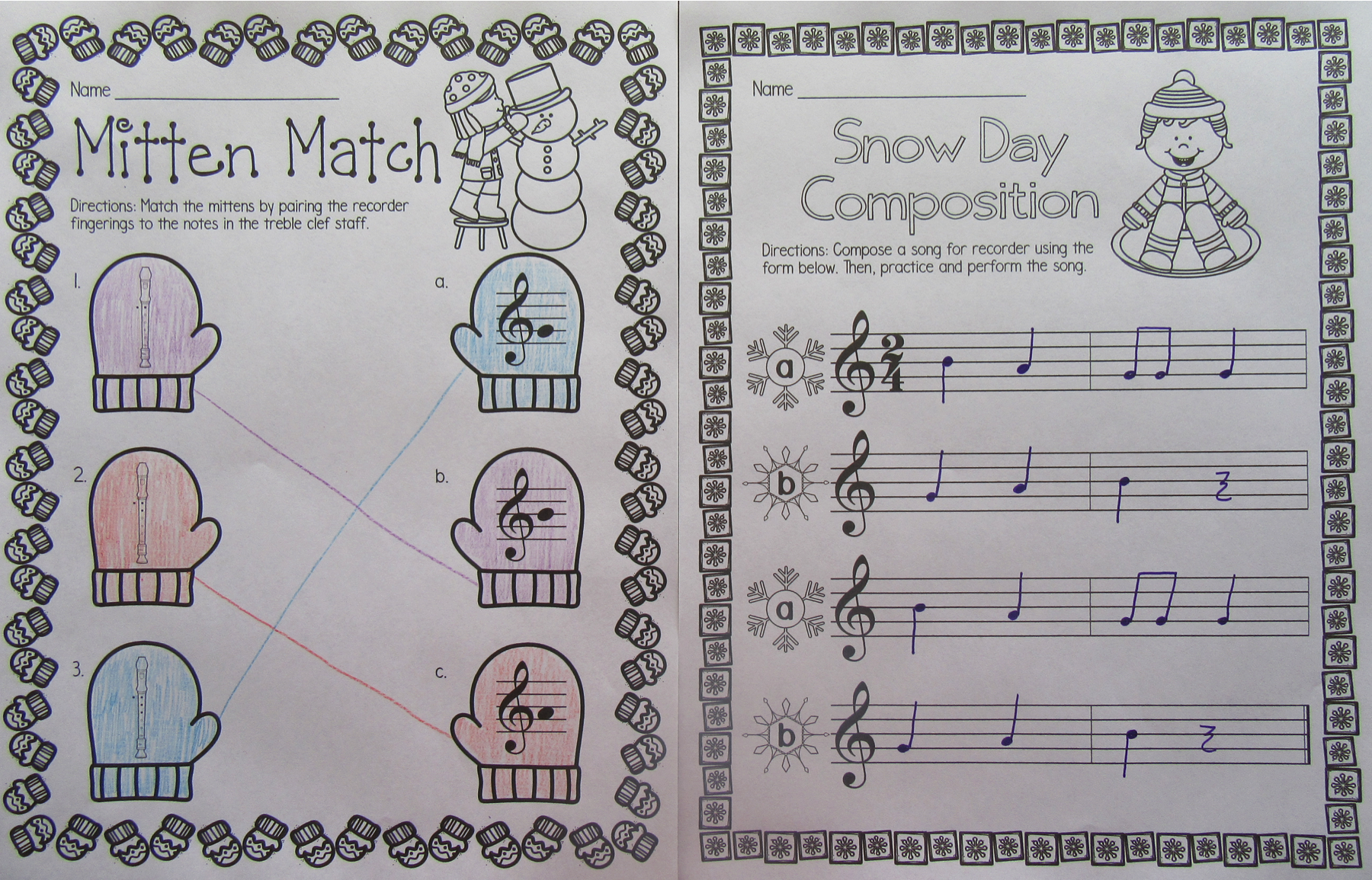 Recorder Worksheets Winter