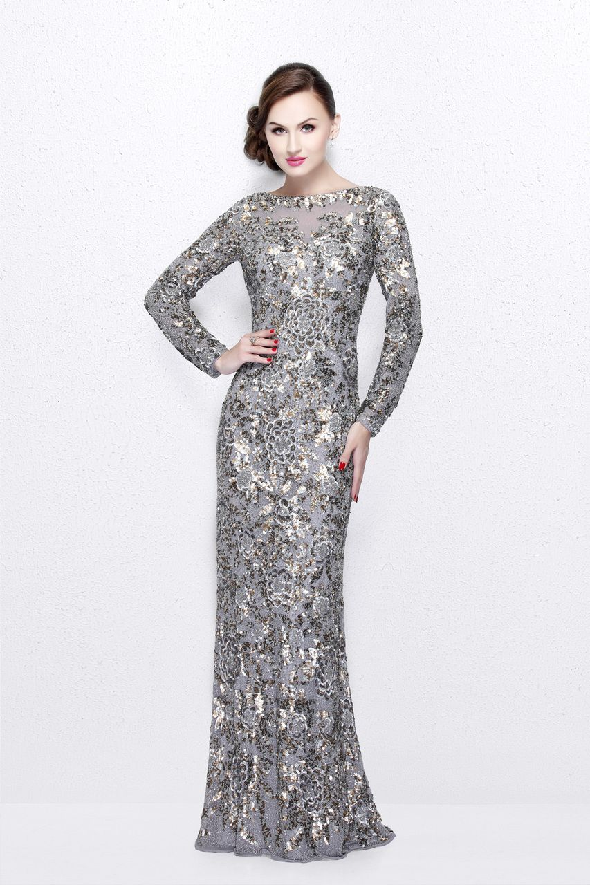 Buy the Long Sleeve Luxurious Floral Sequined Long Sheath ...