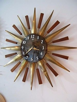 Acctim Stella 43cm Retro Sunburst Wall Clock For Home Or Office 26 30 In 2020 Sunburst Clock Clock Gold Wall Clock