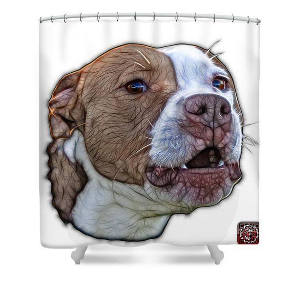 Pitbull Dog Art 7769 Wb Fractal Dog Art Shower Curtain For Sale By James Ahn Pitbull Dog Dog Art Animal