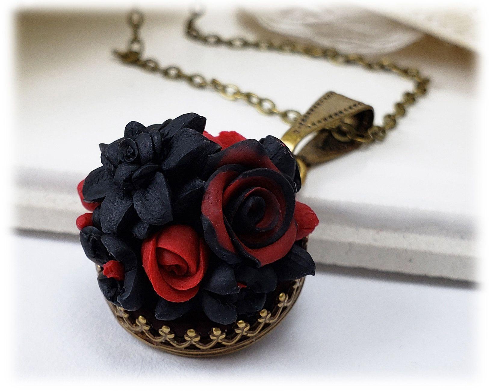 Rose Black Dahlia Necklace Black Flower Necklace, Black