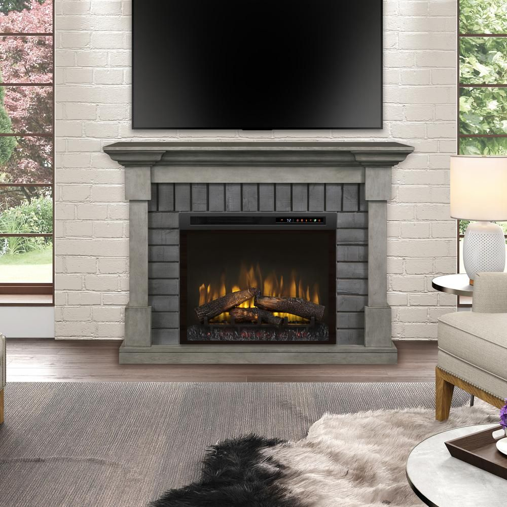 Dimplex Royce 52 In Mantel In Smoke Stak Grey With 28 In Electric Fireplace With Logs Electric Fireplace Stone Mantel Electric Fireplace Tv Stand