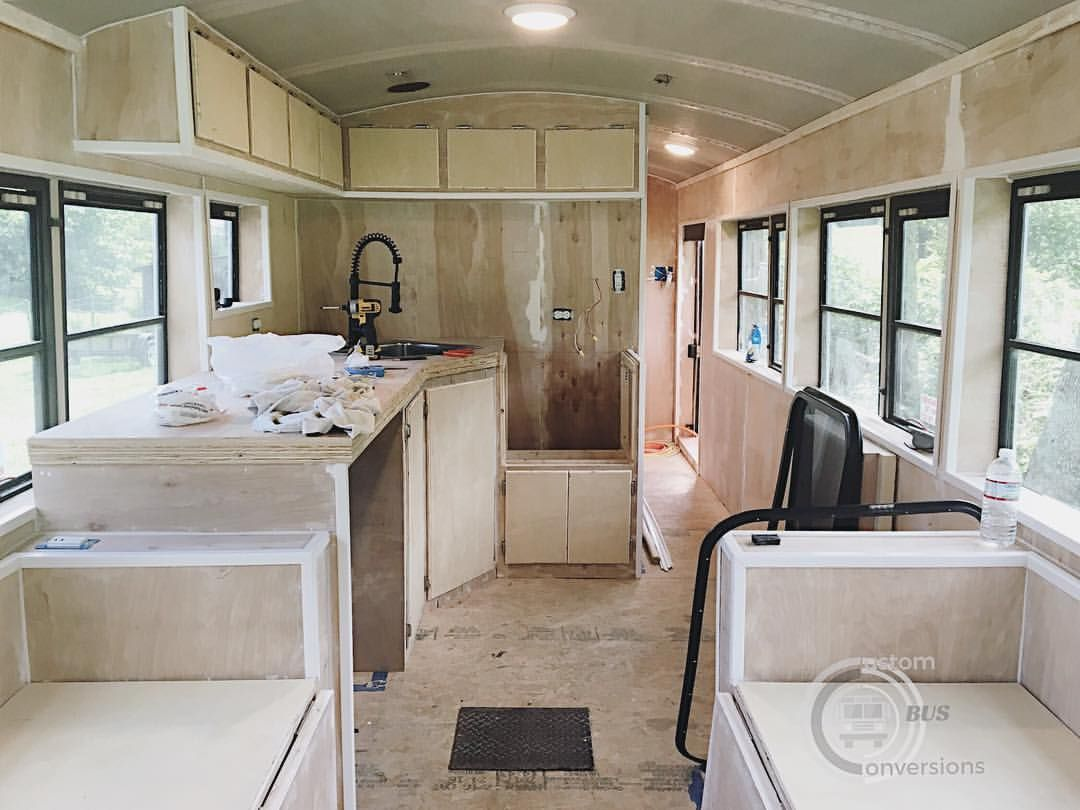 Interior Of Our Schoolbus Skoolie Conversion Tiny Home On