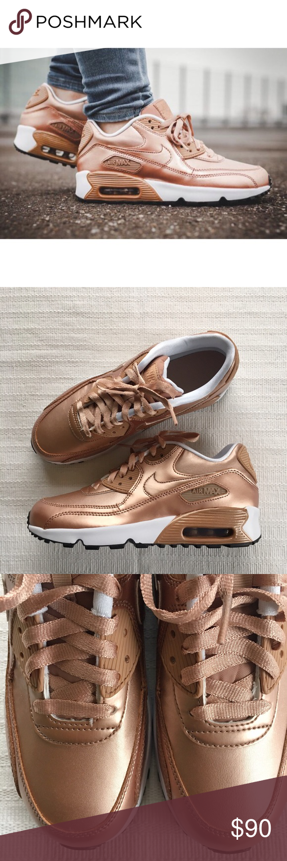 timeless design bedb8 66433 Girl s Nike Air Max 90 GS Metallic Bronze Sneakers Girl s Nike Air Max 90  GS Metallic Bronze Sneakers Style Color  859633-900   Girl s size 6.5Y    NEW in ...