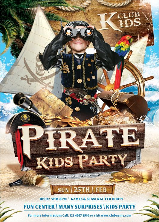Pirate Kids Party Flyer Template By Sandu Gabriel Via Behance